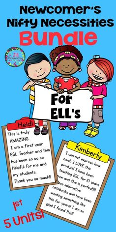 Do you need help when a new student enters your classroom that does not know English? This English Language Learner's Bundle will help make your ELL's transition into the classroom easier! It includes the first FIVE units any ELL Vocabulary Activities, Teaching Activities, Teaching Resources, Classroom Resources, Preschool Worksheets, Esl Lesson Plans, English Language Learners, Language Arts, Spanish Language