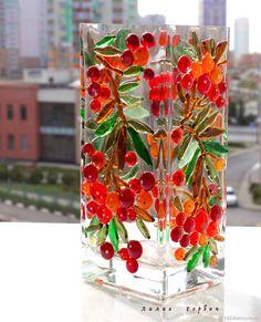 Купить ваза из стекла с декором из фьюзинга Рябинушка - комбинированный, Фьюзинг, стекло, ваза, ваза из стекла