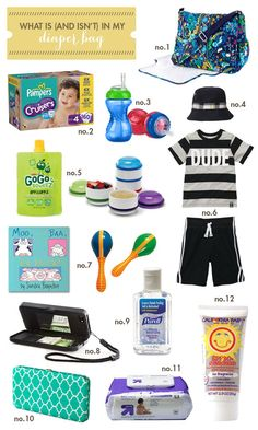 What is (and isn't) in my diaper bag from Hellobee - totally excellent list because she explains everything. Plus there are links to a whole bunch of these lists if you're into that sort of research like I am.