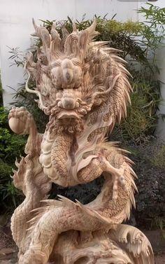 Driftwood Sculpture, Tree Sculpture, Lion Sculpture, Chinese Dragon Art, Eagle Images, Dragon Garden, Asian Architecture, Body Art Photography, Female Dragon