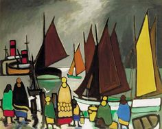 Markey Robinson (Ireland 1918-1999) Harbour Scene with Women and Children Watching the Boats oil on board 91 x 112 cm