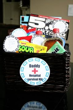 Cute idea for expecting dads, hospital survival kit. Love it