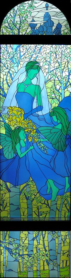 Fairy bride mosaic stained glass
