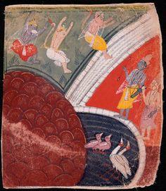 Rama and Lakshmana watching three animal warriors jump a pond, from Ramayana. India, Madhya Pradesh, Malwa, circa 1640