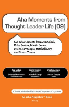 This book is comprised of Aha moments from thought leaders appearing on Thought Leader Life with Mitchell Levy @happyabout and Michael Procopio @michaelprocopio. In addition to Mitchell and Michael, Ahas in the book are provided by Jim Cahill @JimCahill, Koka Sexton @kokasexton, Martin Jones @martinjonesaz, and Stuart Tracte @stwo.