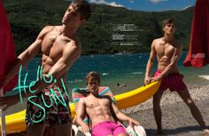 Hello, Sun! - Exclusive Men's Swimwear Special. Photographed By Ryan Jerome, featuring models Anton Worman, Jon Hjelholt, and Martin Pichler. - Full story: http://www.glamoholic.com/27/62.html - Buy a printed copy of this issue: http://www.glamoholic.com/order #menswear #fashion #men #male #models #swimwear #beachwear #summer #glamoholic #magazine