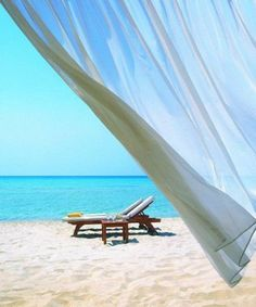 Looking out the window onto to quiet secluded breezy beach with empty lounge chair