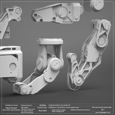 Black Phoenix: Heavy Joints and Actuators Pack Mechanical Design, Mechanical Engineering, Mechanical Hand, Illustration Photo, Hard Surface Modeling, 3d Mode, Arte Robot, Robots Characters, Robot Concept Art