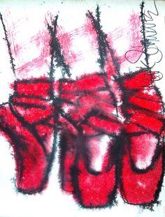 RED+BALLET+SHOE+PORTRAIT+-+MARK+SCHWARTZ,+painting+by+artist+Mark+Schwartz