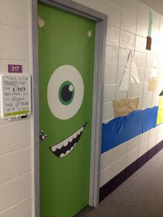 Halloween door décor OMG I need to do this for our classroom door! Halloween Classroom Door, Casa Halloween, Disney Classroom, Monster Classroom, Halloween Ghost Decorations, School Decorations, Monsters Inc Decorations, Monsters Inc Doors, Monsters Inc Halloween