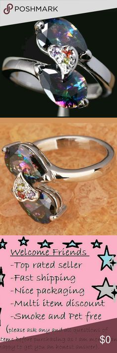 Brand new! Pear Rainbow Topaz Ring Sz 8 Brand new! Sz 8 fitted. Stunning¡!!!!! Jewelry Rings