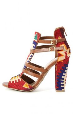 Bamboo Senza-03 Strappy Tribal Heels CHESTNUT THEY ARE SO CUTEEE!