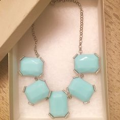 Banana Republic Statement Necklace Beautiful light turquoise and crystal statement necklace - perfect for the holidays or as a gift!  Perfect condition, all stones and jewels in tact, comes with original Banana Republic box! Banana Republic Jewelry Necklaces