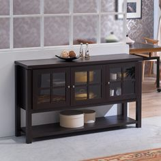 Furniture of America Wilbur Contemporary Walnut Buffet Table