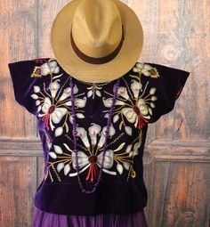 Hand Embroidered Tehuana Mexico Silver on Purple Velvet Huipil Frida Cowgirl  #Handmade #HuipiltunicHuipil