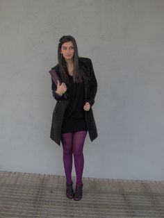 """Saint Valentine's Day -  As first seen on blog """"Siempre unos zapatos negros"""" here: Saint Valentine's Day  She is wearing tights similar here: Purple Opaque Tights Add a pop of color to your day by pulling on these dark purple tights! This solid opaque pair delivers a bold statement wherever you so choose to sojourn.  #tights #pantyhose #hosiery #nylons #tightslover #pantyhoselover #nylonlover #legs"""