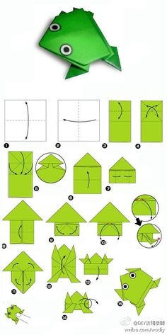 Diagrams for origami jumping frog.