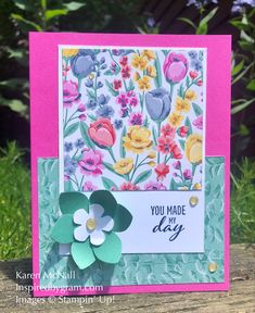 Simple stamping and easy card layout using Here's A Card Stamp Set and Flowers for Every Season.