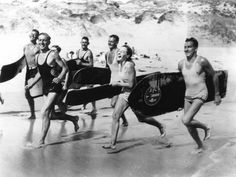 Vintage surfer photo surfing photography print poster gift for surfer running on beach surfboards old photograph beach house decor Running Posters, Gifts For Surfers, Surfing Photos, Vintage Surf, Vintage Bikini, Retro Vintage, Historical Images, Pictures Of People, Surfs