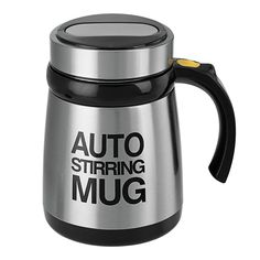 Automatic Stirring Mug - 400ml, 2x AAA Battery, Stainless Steel, Multifunctional - With this Auto Stirring Mug, you never have to bring a spoon again! Perfect for soup, milk, yogurt, coffee, and juice.