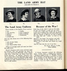 """""""The Land Army Hat - How to Wear It."""" Also lists items received by each new recruit."""