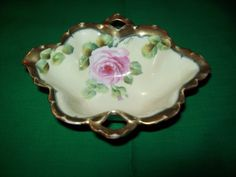Handled, Hand Painted, Bavarian China, Berry/Nut Dish
