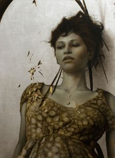 the paintings and artwork of brad kunkle. gold leaf artist and painter brad kunkle. Brad Kunkle, Art Magique, Painted Leaves, Gustav Klimt, Portraits, New Artists, Figure Painting, Painting People, Hush Hush