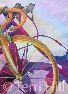 Terri Hill Painting Styles, Cycling Tips, Bicycle Art, Fashion Painting, Watercolours, Creative Inspiration, Art Forms, Painting Inspiration, Biking