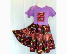 Horse Lovers Girls Purple Dress Fall Tween Girl Clothes Sizes 10 12 14 Carousel Horse Tiered Twirl Dress Cotton Kid Clothes Preteen Clothing on Etsy, $58.00