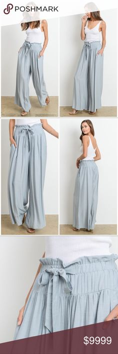PREORDER‼️ Havana Wide Leg Trousers-Iced Green How perfect are these pants! A Gorgeous wide legged trouser with drawstring waist that is perfect for Spring and Summer. Coming in both almond and iced green. Pair with white tank or bodysuit. 70% Rayon 30% Poly. Preorder to snag your size. Priced at $52. Pants Wide Leg