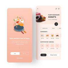 Recipe's & Shopping App UI Design Concept Pop Design, App Ui Design, Graphic Design, Design Thinking, Ui Design Mobile, App Design Inspiration, Daily Inspiration, Mobile App Ui, Application Design