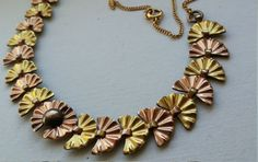 Copper and brass vintage necklace 15 long by VintageInspiredNow