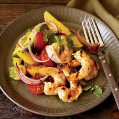 Fast and healthy shrimp recipes include Mario Batali's shrimp ragout with polenta and quick shrimp pad-thai. Plus more fast and healthy shrimp recipes. Shrimp Dishes, Shrimp Recipes, Fish Recipes, Salad Recipes, Healthy Recipes, Healthy Habits, Orange Salad, Weekday Meals, Grilled Shrimp