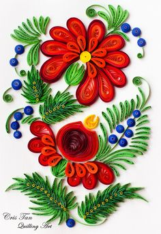 Red flowers quilling