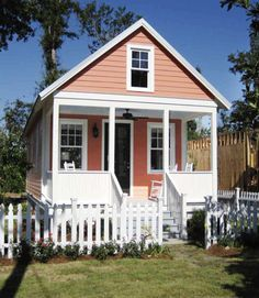 Designed by Katrina Cottages, this compact two-bedroom cottage has a 544-square-foot living area and a charming little porch big enough for several rocking chairs. The plan set and and building license are available for $850, while the company estimates that the cost to construct this model will range between $65,280 to $76,000.  Learn more about the KC 544.