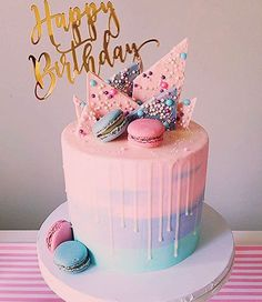 pastel-birthday-cake-macaroons-pink-purple-and-blue-spring-colors-cake-birth/ - The world's most private search engine 14th Birthday Cakes, Pink Birthday Cakes, Beautiful Birthday Cakes, Birthday Cakes For Teens, Homemade Birthday Cakes, Colorful Birthday Cake, Birthday Cake Girls Teenager, Birthday Drip Cake, Birthday Ideas