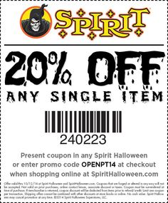 Spirit stores are now opening! Use this 20% off any single item in your local Spirit Halloween store today!