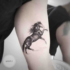 Horse Tattoo by Zlata Kolomoyskaya Black And Grey Tattoos For Men, Cute Tattoos For Women, Cute Girl Tattoos, Weird Tattoos, Arm Tattoos For Guys, Dog Tattoos, Sleeve Tattoos, Horse Tattoo Design, Tattoo Designs