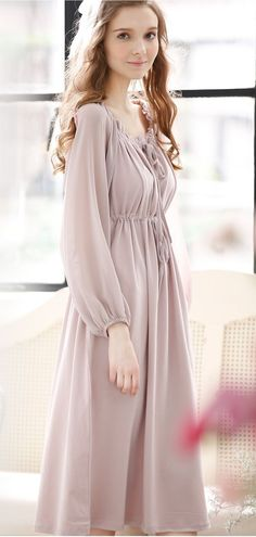 f0e6e27862 Elegant Light Purple Cotton   Chiffon Puff Sleeve Sleepwear Long Dresses
