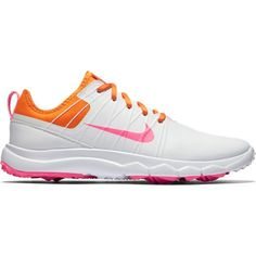 Check out what @lorisgolfshoppe has for you on and off the golf course: the White/Vivid Orange/Hyper Pink Nike Ladies Fi Impact 2 Golf Shoes.