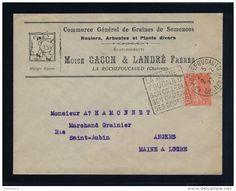 VENTE FLASH Lot B_054 - 1927 - DAGUIN DE LA ROCHEFOUCAULD, CHARENTE SUR LSC EN-TÊTE GRAINES, PLANTES, FLEURS POUR ANGERS