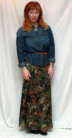 Fashion Fairy Dust: camo maxi skirt, chambray shirt, brown belt, brown boots