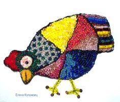 "Helen Kolomoiets. Brooch ""Chicken."" Bead embroidery and felting. Елена Коломоец. Брошь ""Курочка"". Вышивка бисером и сухое валяние."