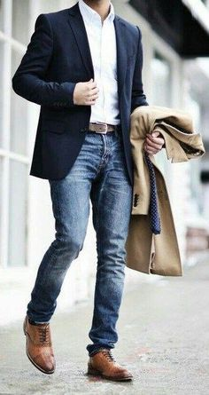 Classy business look with navy blue suit & camel overcoat. find this pin and more on men's fall casual fashion Business Attire For Men, Fashion Business, Business Outfits, Business Men, Mens Business Casual Jeans, Business Style, Business Ideas, Business Shoes, Mens Fashion Blazer