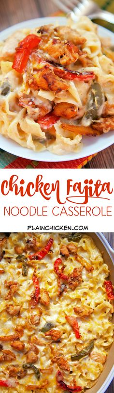 Chicken Fajita Noodle Casserole - chicken fajita seasoning bell peppers onions noodles sour cream cream of chicken soup and cheese. Can make ahead of time and refrigerate or freeze for later. Makes a lot - can split between 2 pa Mexican Food Recipes, New Recipes, Dinner Recipes, Cooking Recipes, Favorite Recipes, Recipies, Noodle Casserole, Casserole Dishes, Casserole Recipes