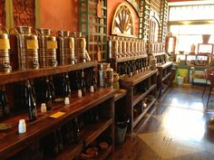 Olive That and More,  Montclair NJ awesome reclaimed display shelving and great olive oils and vinegars.