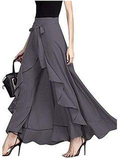 5318ae88ef Women s Split Tie-Waist Dress Maxi Long Palazzo Pants Skirts Grey S at Amazon  Women s