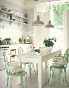 LOVE: color combo. open shelves. light, airy feeling. wood table, metal chairs. industrial lights. white cabinets. farm sink