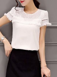 Trendy Jewel Neck Short Sleeve Hollow Out Fringed T-Shirt For Women