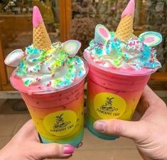 Tag a friend to share with ‼️🌈❤️💙💚💜 I would keep both for myself 🤣🤣🤣 You can find them at … Go guys you know my secret now 😍 . 👇 For more unicorn addiction content 💯. Party Unicorn, Unicorn Cafe, Rainbow Unicorn, Cute Desserts, Dessert Recipes, Cute Food, Yummy Food, Boutique Patisserie, Candy Drinks